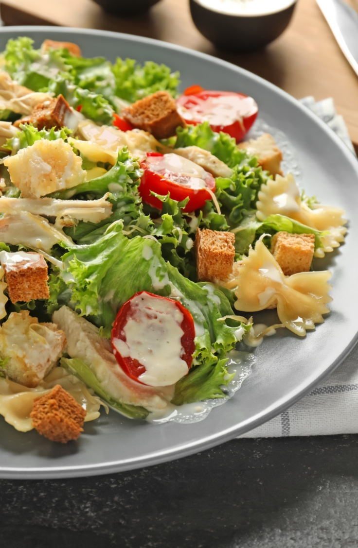 There are few dishes that contain the essence of a specific season, and pasta salads are one that belong to summer. Check out these pasta salad recipes! This Chicken Caesar pasta salad is a classic.