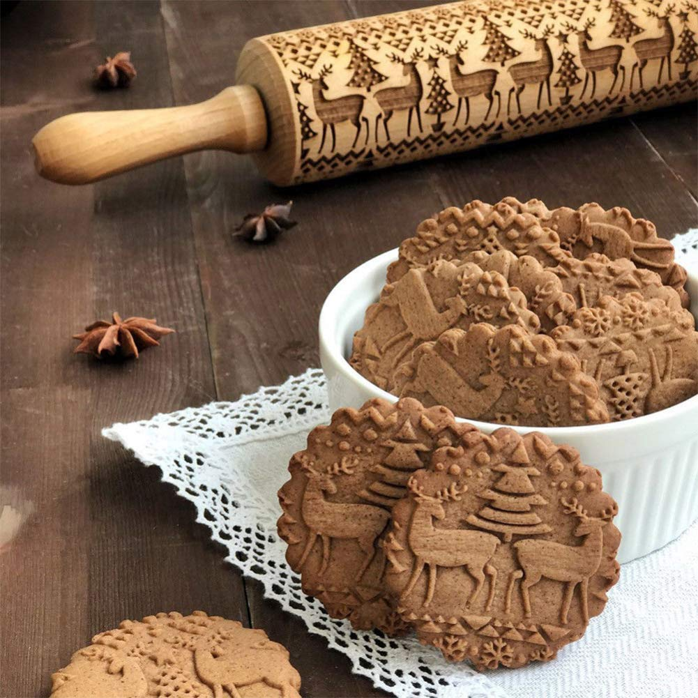 If you're someone who loves to bake, you need to use embossed rolling pins. They create the cutest patterns for cookies and they are easy to use!