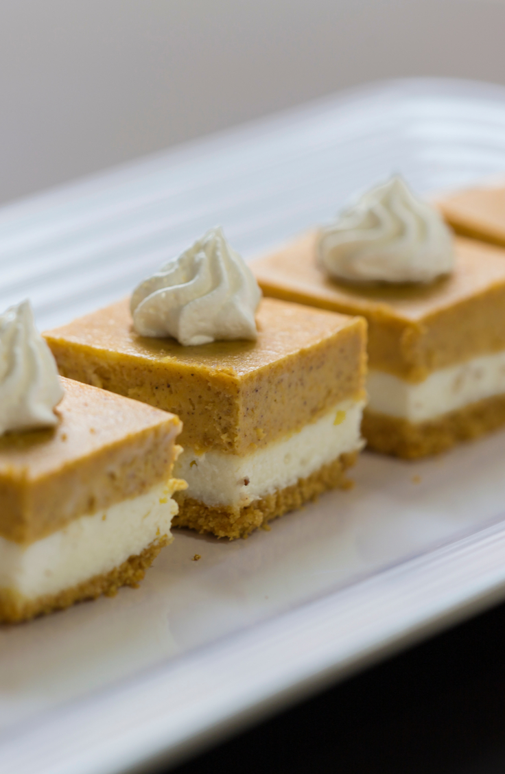 I have 3 words for you. Pumpkin Cheesecake Bars! YUM! For more Thanksgiving desserts that aren't pie, look here! They are absolutely delicious!