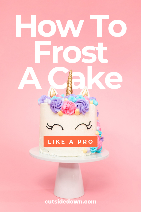 Wanting your cake to look like a bakery decorated it? Who doesn't! Cut Side Down wants to show you how to frost a cake like a pro. We have tips and tricks with techniques and frosting to ensure your cake looks stunning. These are easy to follow ideas that anyone can do. Go ahead, take a look. #cakedecoratingtips #howtofrostacake