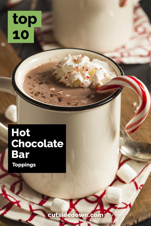 Hot chocolate bars are so delicious. Nothing like a party with hot chocolate. Your guests will love you and they will be addicted to these top 10 hot chocolate bar toppings. Take a look at what items made the list and add them to yours. You can't go wrong with these toppings. Grab a cup and fill it up! #hotchocolatebartoppings #hotchocolatebarideas