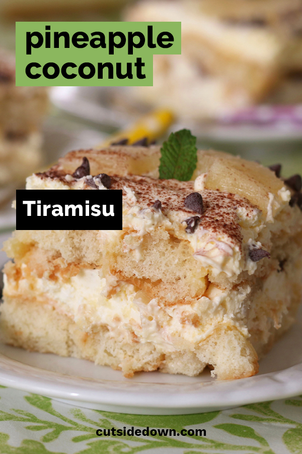 If you love the classic Italian tiramisu dessert, you might want to try this little twist to the recipe. The pineapple and coconut might seem like an odd combination but you will be pleasantly surprised. Hard to imagine that tiramisu could taste any better than the original recipe, but you might agree that this is just a little better. #tiramisu #italiandesserts