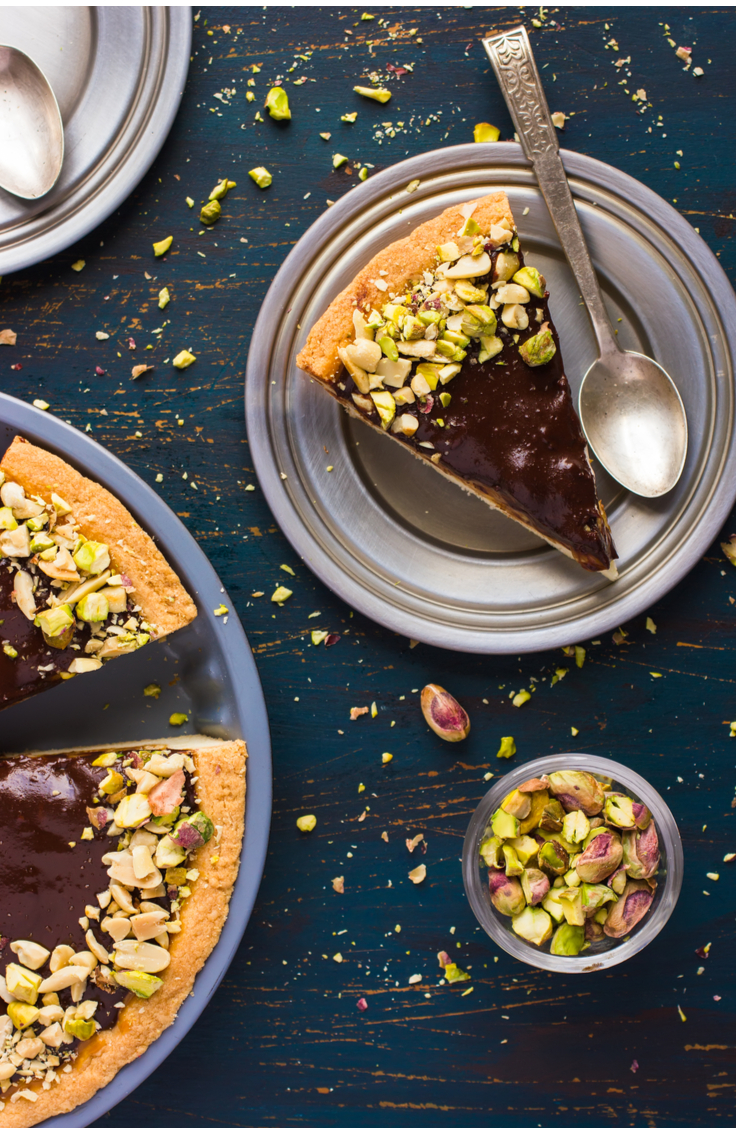 Have you ever had a dark chocolate pistachio tarte? It's one of my favorite holiday desserts. The best part is, it's pretty low in calories too so you don't feel guilty.
