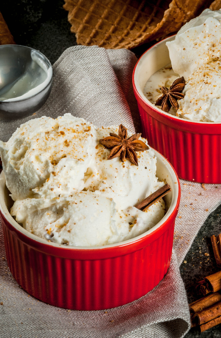 Egg nog ice cram is one of the best holiday ice cream flavors there is! Here is a list of holiday ice cream flavors you can make right at home.