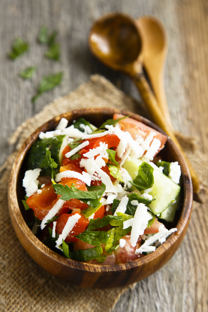 Macedonian food is a mixture between Mediterranian and Greek cuisine. Essentially there is a focus on fresh food paired with fresh grains and fresh meat. Shopska Salata is a traditional Macedonian salad. For more Macedonian recipes, look here!