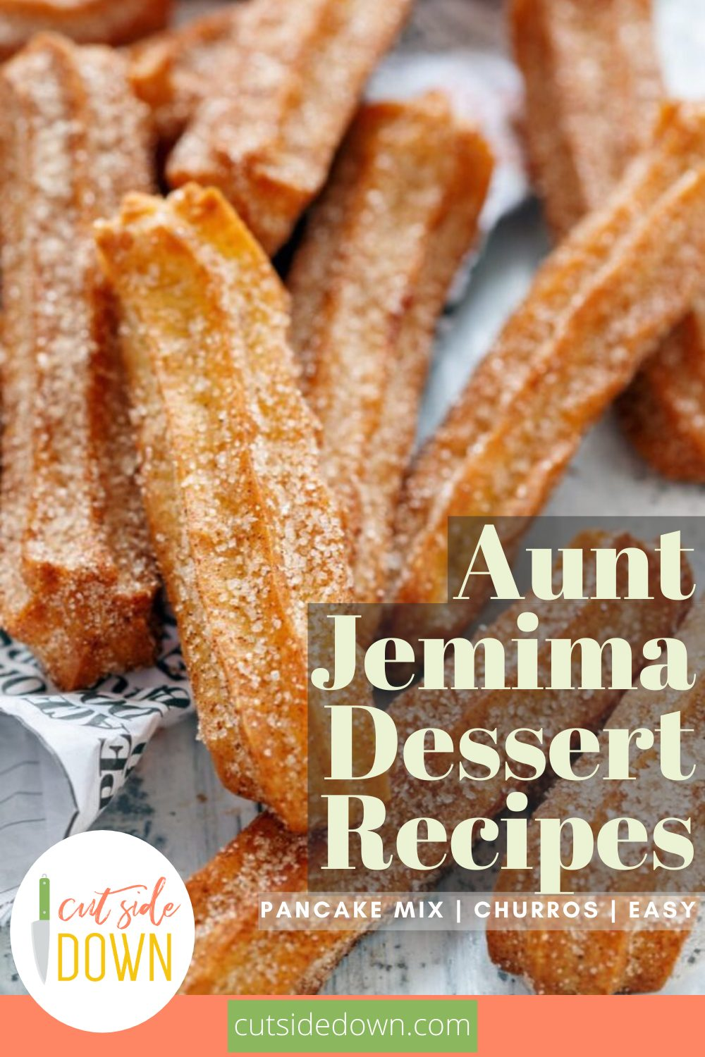 Before they fly off the shelves, go grab yourself some Aunt Jemima's Pancake and Waffle mix so you can bake up these delicious desserts! From cakes to cookies to churros, Aunt Jemima's Pancake and Waffle mix is made for more than just breakfast. #TheCutSideDownBlog #AuntJemimaDessertRecipes #AuntJemimaPancakeMixRecipes #AuntJemimaCakeRecipes