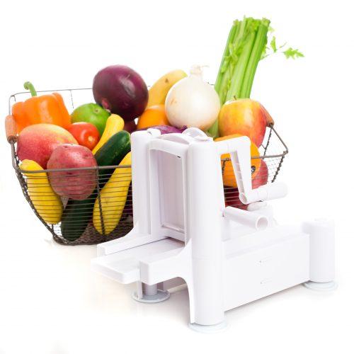 Veggoogle veggie noodle maker with basket of fresh vegetables