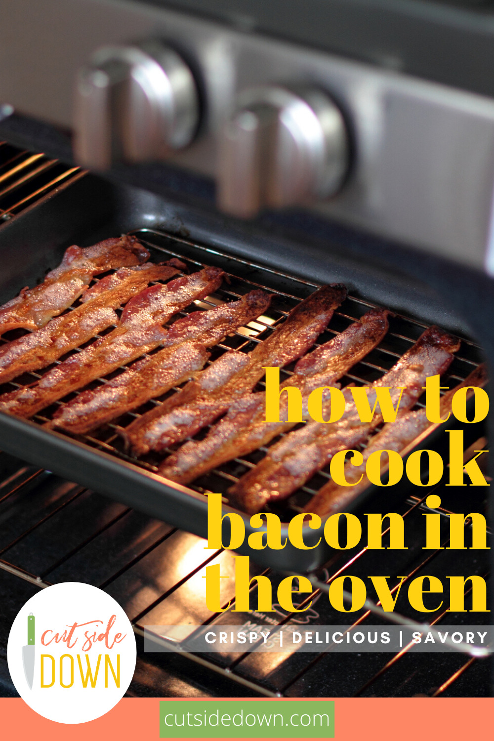 If you love bacon, you are going to have your mind blown when you learn how to cook bacon in the oven. It's easy, delicious and makes less mess. Give it a try. You know this is making you curious. Keep reading to learn how easy it is. #howtocookbaconintheoven #bacon #baconmakeseverythingbetter #cutsidedownblog